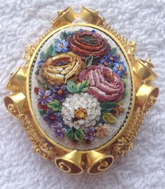 Stunning Micro Mosaic Brooch Locket | eBay