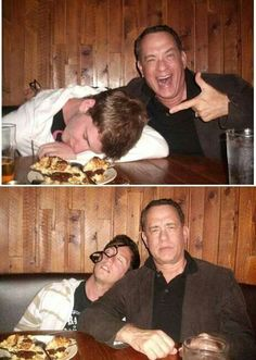 A passed out young man in a bar Tom Hanks and the man's smartphone... This is what he sees the next day...