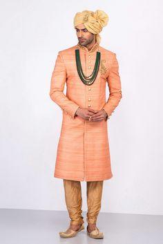 MFS peach textured embroidered sherwani