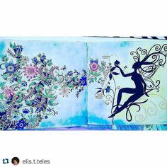 «Tem ninfa no jardim! #Repost @elis.t.teles with @repostapp ・・・#desenhoscolorir…