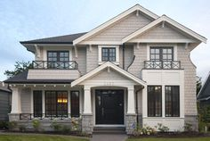 Day or night winter or summer Westeck Windows and Doors are both impressive and energy efficient. To speak with one of our Project Consultants plea Black Windows Exterior, White Exterior Houses, Grey Houses, Modern Farmhouse Exterior, House Paint Exterior, Exterior Siding, Exterior Remodel, Exterior House Colors, Exterior Design