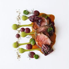 Herb infused lamb loin with fava beans by acquerellosf TheArtOfPlating Lamb Recipes, Gourmet Recipes, Gourmet Desserts, Plated Desserts, Food Design, Modern Food, Food Decoration, Culinary Arts, Food Plating