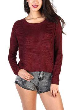 Knit Sweaters - Burgundy