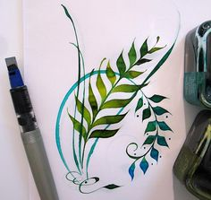 """My """"fern fantasy"""" originated years ago, as I was sitting at my computer in the floor office tower where I worked in Toronto, Ontario. Flipping through a mag. Calligraphy Letters, Islamic Calligraphy, Art And Illustration, Pen Art, Letter Art, Doodle Art, Painting & Drawing, Watercolor Paintings, Scripture Art"""
