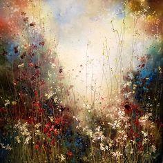 Yulia Muravyeva - Valley of flowers Acrylic Painting Flowers, Acrylic Pouring Art, Acrylic Painting Techniques, Art Techniques, Amazing Paintings, Colorful Paintings, Amazing Art, Texture Art, Texture Painting
