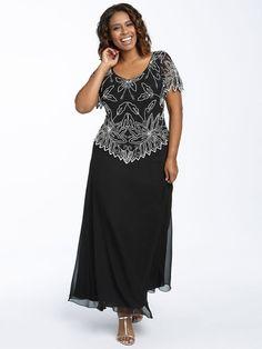 A-Linie/Princess-Stil U-Ausschnitt Kurze Ärmel Perlenstickerei Knöchellang Chiffon Kleider für die Brautmutter