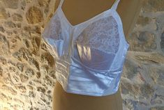 1950s longline white satin and lace bullet bra torpedo bra