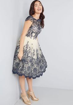 Make an unforgettable entrance in this decadently embroidered dress by Chi Chi London! With an ornate illusion neckline, intricate scalloped lace, and a full, tulle-lined skirt, this navy blue and cream frock exudes timeless feminine flair. Chi Chi, Pretty Dresses, Beautiful Dresses, Homecoming Dresses, Bridesmaid Dresses, Bridal Dresses, White Frock, Red Frock, Look Vintage