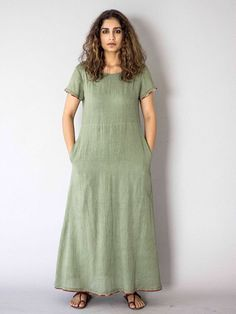 Sage Cotton Maxi Dress