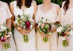vibrant green, mauve and peach bouquets