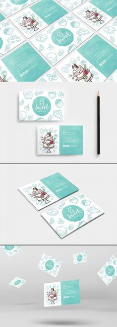 Cake Shop Business Card Template This Cake Shop Business Card Template features front & back page designs and comes in both Photoshop & Illustrator format. Cake Shop Design, Cake Logo Design, Bakery Design, Baking Business Cards, Shop Name Ideas, Cake Branding, Visiting Card Design, Name Card Design, Bussiness Card
