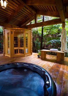 Image result for back yard sauna hot tub