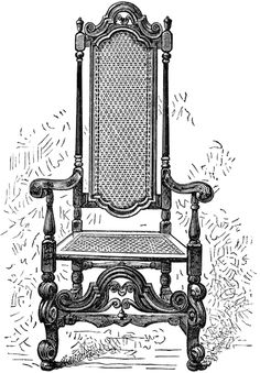 vintage chair clip art, franz meyer image, black and white