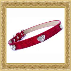 Glamorours love hearts croc dog collar,  embellished with crystal encrusted hearts.