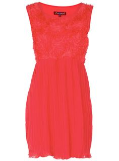 Coral red with roses and pleats