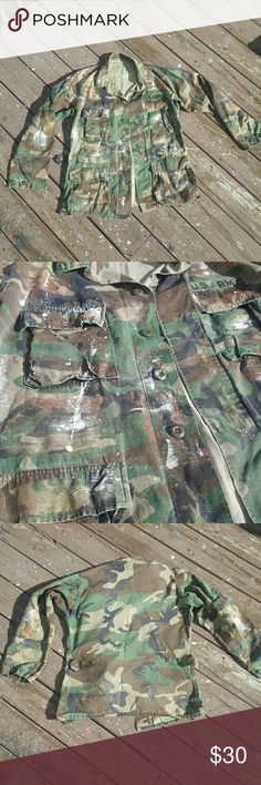 Custom painted camo jacket Size: Small-Long  Condition: Used Authentic jackets I buy from miltary store army Jackets & Coats