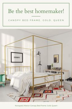 Novogratz Marion Canopy Bed Frame, Gold, Queen Country Curtains Catalog, Canopy Bed Frame, Interior Decorating, Interior Design, Queen Beds, Soft Furnishings, Bed Sheets, Window Treatments, Luxury Homes