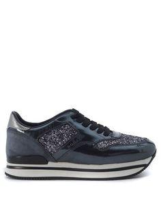 HOGAN Sneaker Hogan 222 Nuovo Sportivo Con Paillettes Grigio Fango. #hogan #shoes #sneakers