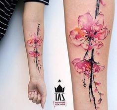 Cherry blossom tattoo designs, widely popular as sakura tattoos, are among the most popular floral tattoos inked all over the world. Sakura tattoos are Trendy Tattoos, New Tattoos, Body Art Tattoos, Small Tattoos, Tattoos For Women, Sleeve Tattoos, Cool Tattoos, Tattoo Women, Wrist Tattoos