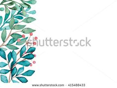Card With Watercolor Red Berries, Green And Blue Leaves