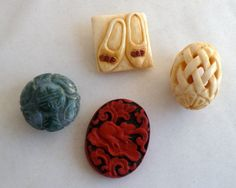 Chinese beads and button  jade cinnabar ivory by BitsAndPiecesEtc, $25.00