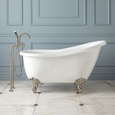 """Ultra Acrylic Slipper Clawfoot Tub 51""""x 26"""" with oil rubbed bronze feet and wall mount faucet"""