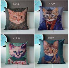 Zm04,45* 45 cm, britse literaire cafe kussens katoen linnen kussenhoes sofa set houden cartoon kat slapen in  van  op Aliexpress.com