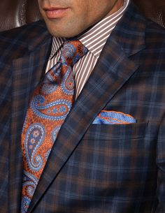 Robert Talbott Spring Best of Class Tie, Navy and Brown Plaid Carmel 2 Button Sport Coat, and Dress Shirt.