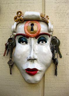 Femme Fatale Under Lock & Key Ceramic Mask by Uturn on Etsy.