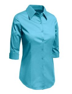 LE3NO Womens Roll Up 3/4 Sleeve Button Down Shirt with Stretch *** Click image to review more details.