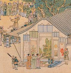 12.  清院本清明上河图 - 書畫攤 (painting and calligraphy vendor stand)