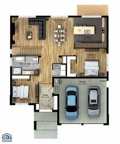 Plan du modèle first home in 2019 house plans, ho Bungalow House Plans, Tiny House Cabin, Dream House Plans, House Floor Plans, Family House Plans, Small House Plans, The Plan, How To Plan, L Shaped House Plans