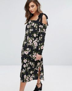 Miss Selfridge Floral Cold Shoulder Midi Dress