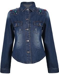 Blue Lapel Long Sleeve Bleached Bead Denim Jacket EUR€24.70