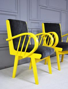 yellow & gray armchairs by namedesignstudio on Etsy, $1200.00