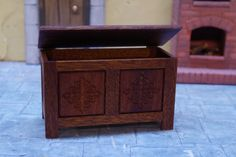 Miniature Dolls House Tudor Storage Box 1 / 12th Medieval Chest Storage Doll One Inch Wooden Box by FirecraftMiniatures on Etsy