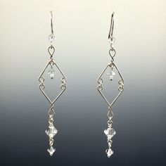 Swarovski Crystal & Sterling Silver Sleek Chandelier Earrings