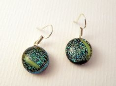 green crinkle fused glass earrings by LikeYourJunk on Etsy, $10.00
