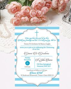 Christening Invitations Digital Baby Boy by PapierCouture1 on Etsy