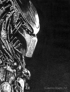 Predator, in Guillermo Boetto's Movies & Series Comic Art Gallery Room Alien Vs Predator, Predator Comics, Predator Movie, Predator Alien, Predator Tattoo, Military Drawings, Arte Dc Comics, Geeks, Dark Photography