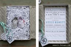 Invite for twin baby shower by Memento Designs