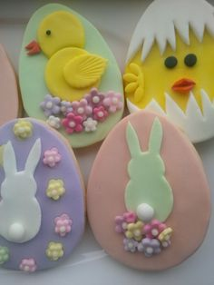 fondant decorated  Easter Egg Cookies