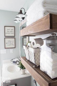 Bathroom makeovers modern farmhouse bathroom makeover house so many great ideas to create small bathroom makeovers Budget Bathroom, Bathroom Renos, Bathroom Wall Decor, Small Bathroom, Master Bathroom, Bathroom Ideas, Bathroom Remodeling, Bathroom Shelves, Bathroom Ladder