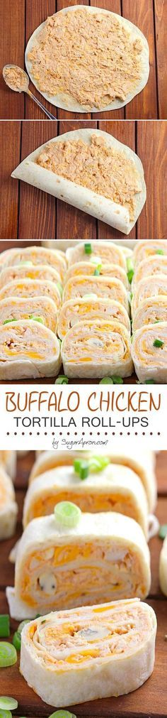 Chicken Tortilla Roll Ups - Sugar Apron A Buffalo Chicken Tortilla Roll Ups recipe, perfect for game day.or any day!A Buffalo Chicken Tortilla Roll Ups recipe, perfect for game day.or any day! I Love Food, Good Food, Yummy Food, Fun Food, Game Day Food, Tapas, Roll Ups Recipes, Dip Recipes, Party Recipes