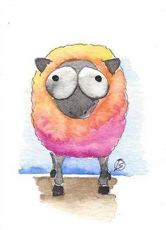 ACEO Original watercolor painting whimsical farm animal crazy pink sheep #IllustrationArt