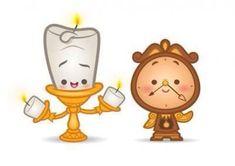 Beauty & The Beast - Cogsworth & Lumiere - Disney Animation Art Disney Belle, Baby Disney, Lumiere Disney, Disney Nursery, Kawaii Drawings, Cute Drawings, Cute Disney Drawings, Disney And Dreamworks, Disney Movies