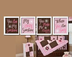 Cute Brown Pink You Are My Sunshine Quote Nursery Song Print Artwork Set of 4 Prints Wall Decor Art Picture