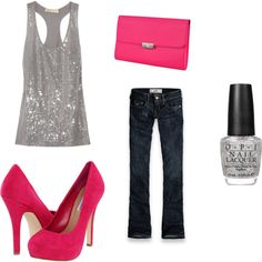 Night out- need to look for hot pink pumps- need pink pumps. Girls Night Out, Ladies Night, Cute Fashion, Womens Fashion, Kinds Of Clothes, Complete Outfits, Nice Heels, Gorgeous Heels, How To Look Pretty