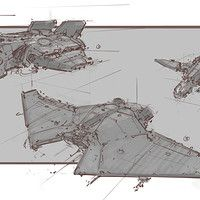 Finished up my spaceship sketch. Rough 3D blockout with line on top. And a splash of color.