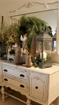 Beautiful winter woodland / home decor decorating /dresser display / Christmas / woodland Santas